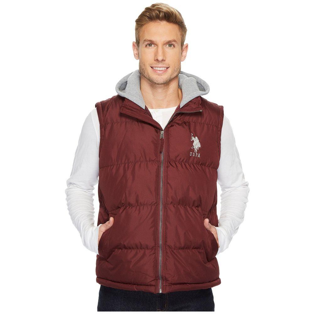 ユーエスポロアッスン U.S. POLO ASSN. メンズ トップス ベスト・ジレ【Basic Puffer Vest with Fleece Hood】East Burgundy