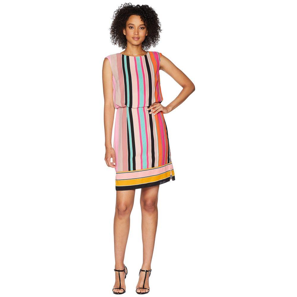 アドリアナ パペル Adrianna Papell レディース ワンピース・ドレス ワンピース【Fiesta Stripe Blouson Dress】Pink Multi