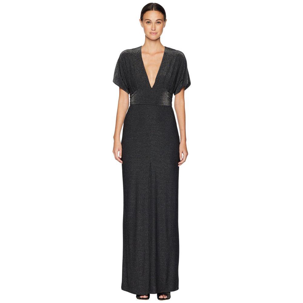 ホルストン ヘリテイジ Halston Heritage レディース ワンピース・ドレス パーティードレス【Short Sleeve V-Neck Metallic Jersey Kimono Gown】Metallic Black