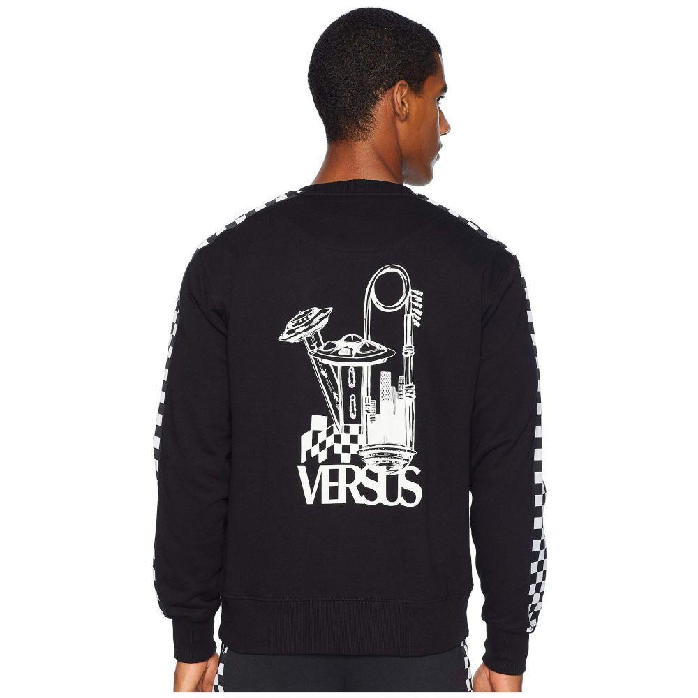 ヴェルサーチ Versus Versace メンズ トップス 長袖Tシャツ【UFO Check Long Sleeve T-Shirt】Black