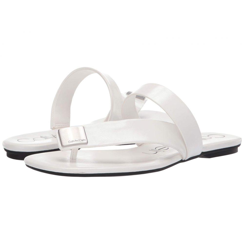 カルバンクライン Calvin Klein レディース シューズ・靴 ビーチサンダル【Saurin】White Varnished Crackle