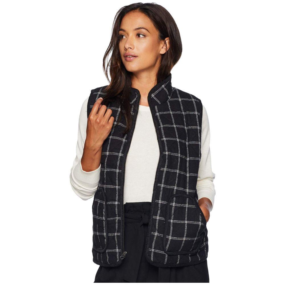 モドオードック Mod-o-doc レディース トップス ベスト・ジレ【Windowpane Flannel Plaid Quilted Vest with Corduroy Trim】Black
