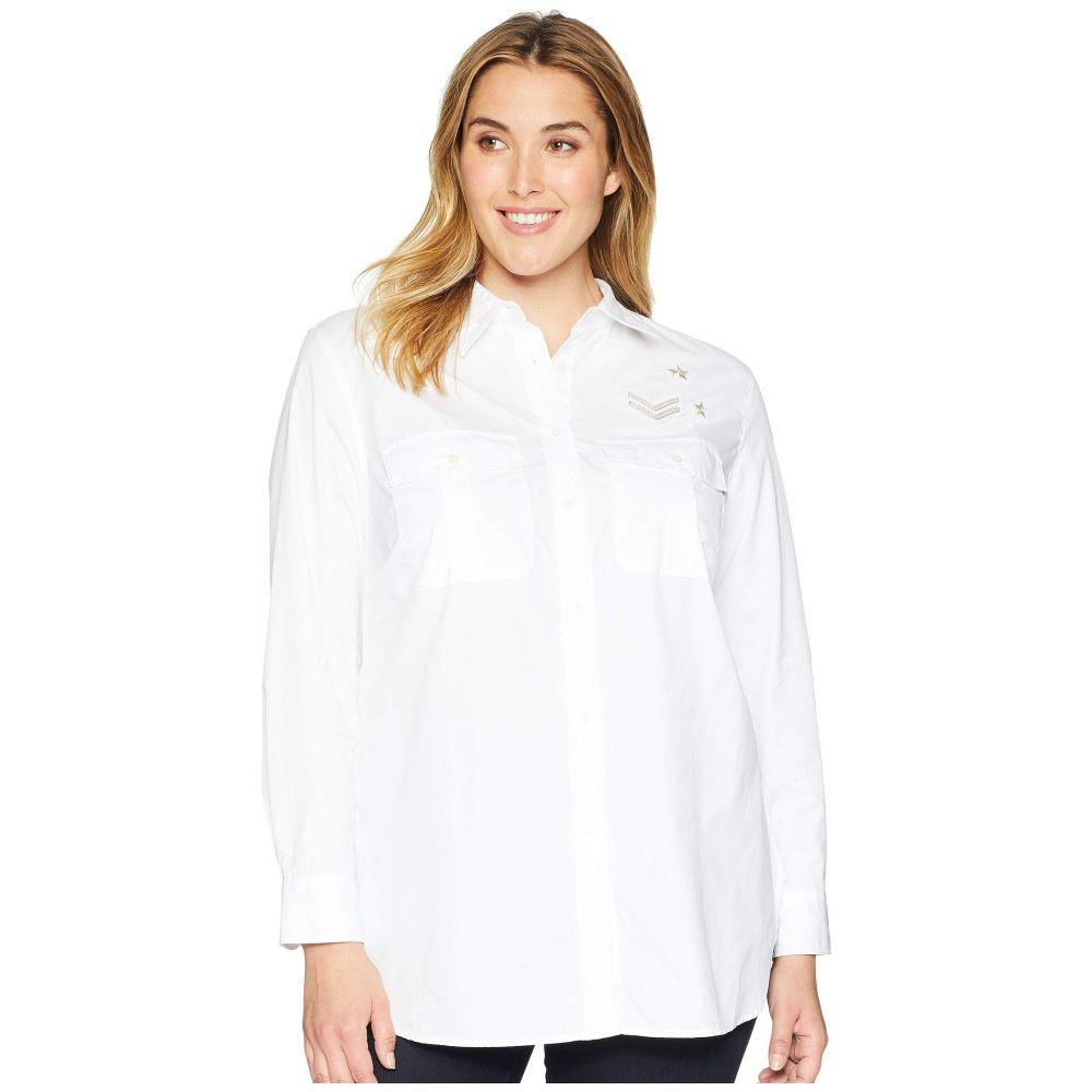ラルフ ローレン LAUREN Ralph Lauren レディース トップス ブラウス・シャツ【Plus Size Bullion-Patch Poplin Shirt】White