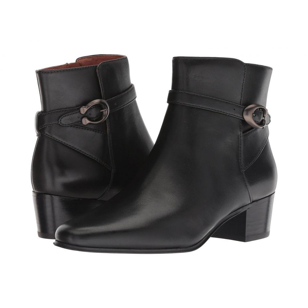 コーチ COACH レディース シューズ・靴 ブーツ【Chrystie Bootie with Signature Buckle】Black Leather