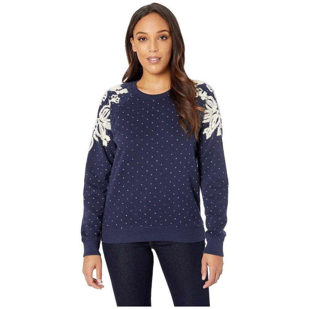 ラッキーブランド Lucky Brand レディース トップス スウェット・トレーナー【Polka Dot Chenille Sweatshirt】American Navy