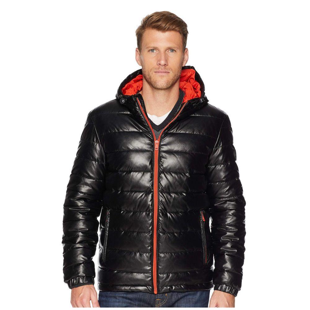 コールハーン Cole Haan メンズ アウター ダウン・中綿ジャケット【Faux Leather Faux Down Jacket】Black/Orange