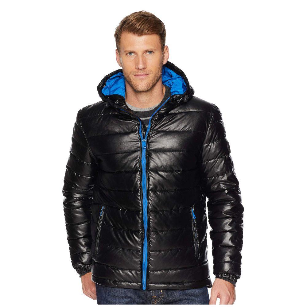 コールハーン Cole Haan メンズ アウター ダウン・中綿ジャケット【Faux Leather Faux Down Jacket】Black/Blue