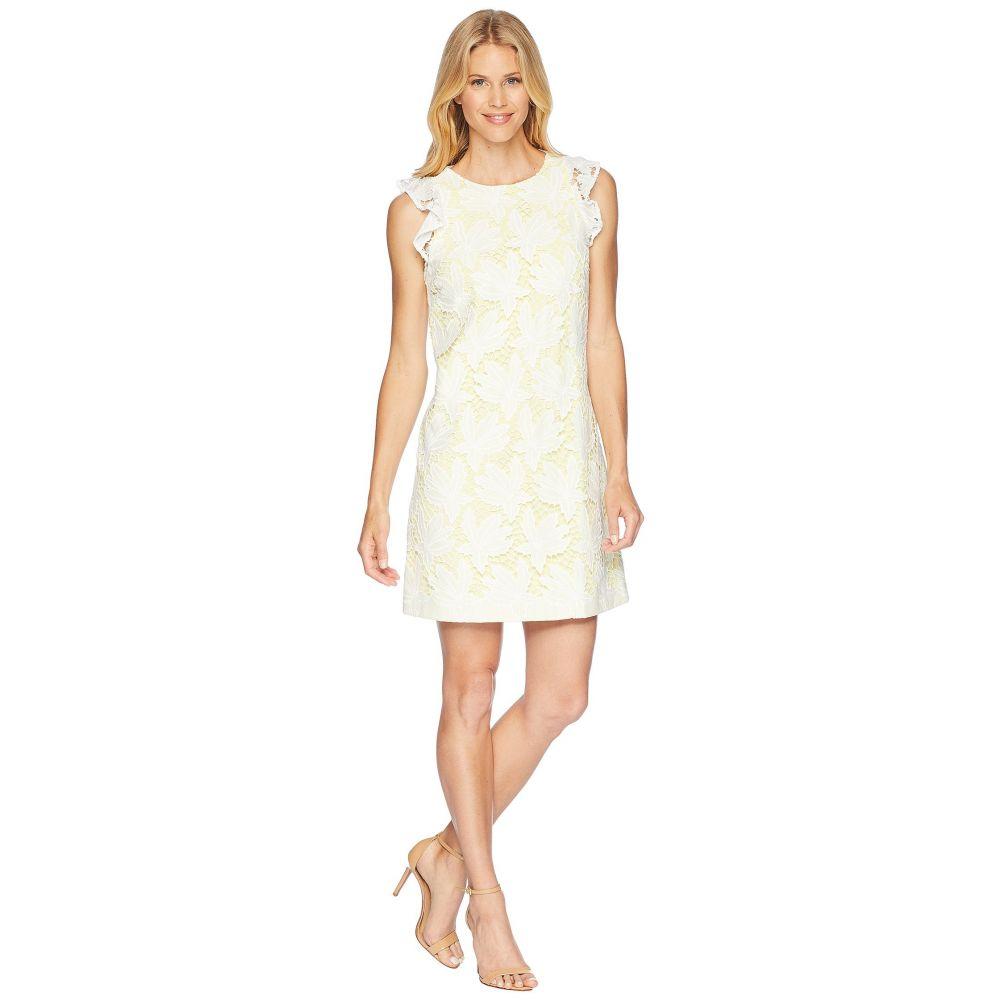 タハリ Tahari by ASL レディース ワンピース・ドレス ワンピース【Ruffle Sleeve Novelty Sheath Dress】White/Lemon