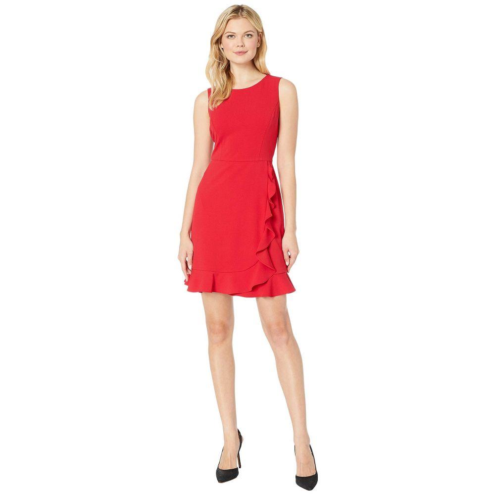 ナインウェスト Nine West レディース ワンピース・ドレス ワンピース【Sleeveless Jewel Neck Crepe Dress w/ Asymmetrical Skirt Ruffle】Crimson