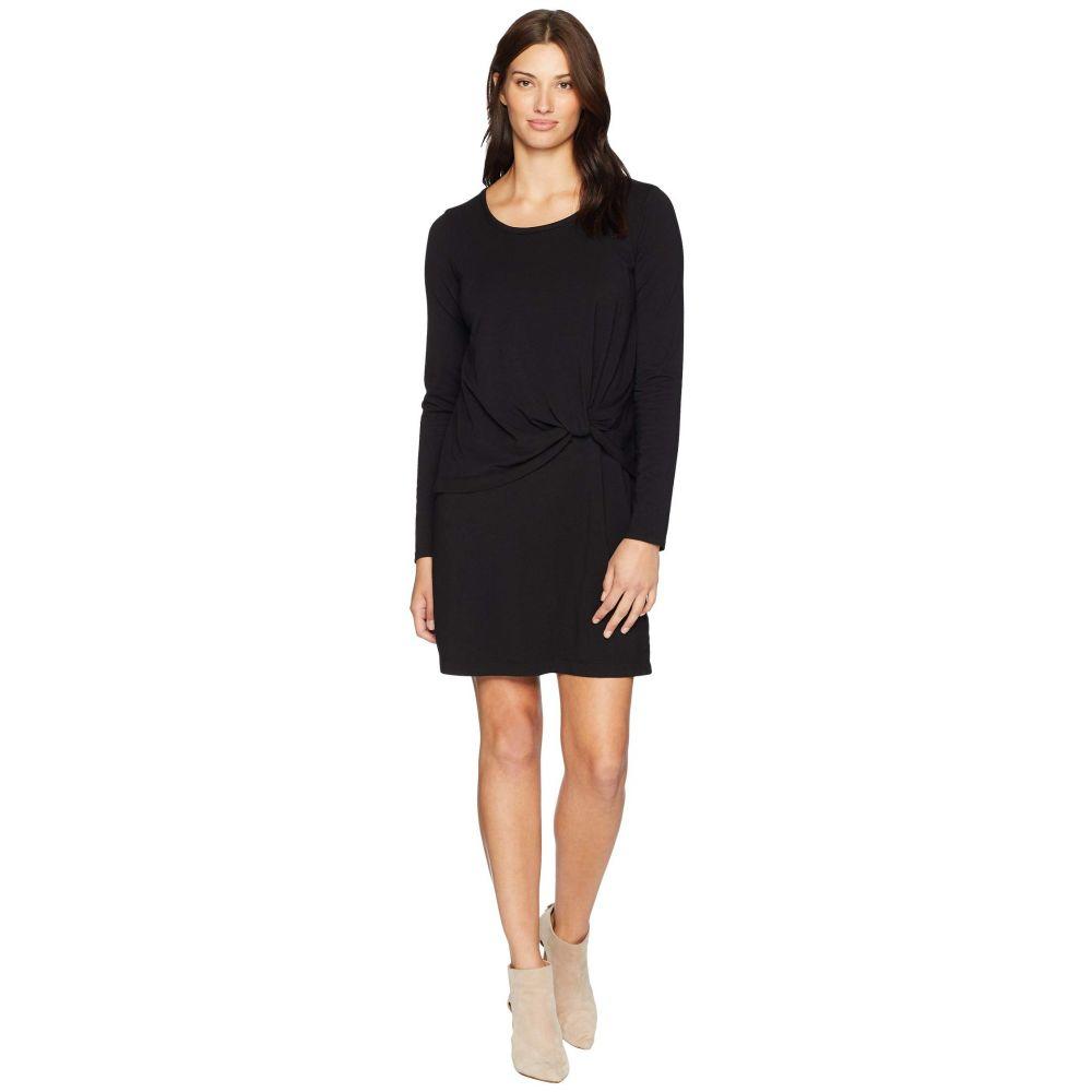 モドオードック Mod-o-doc レディース ワンピース・ドレス ワンピース【Cotton Modal Spandex Jersey Long Sleeve Dress with Twisted Hem Overlay】Black
