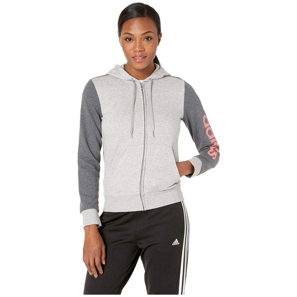 アディダス adidas レディース トップス パーカー【Essential Linear Full Zip Hoodie】Medium Grey Heather/Prism Pink
