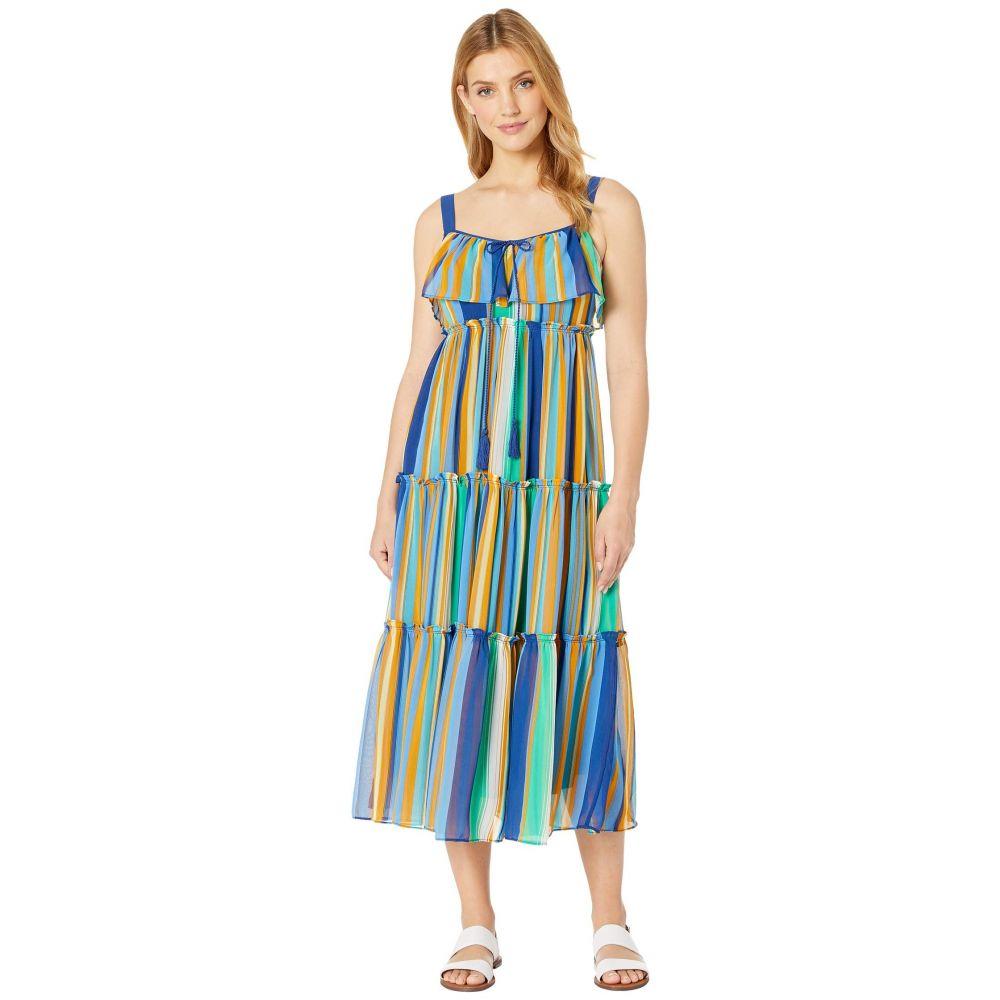 テイラー Taylor レディース ワンピース・ドレス ワンピース【Sleeveless Ruffle Neck Striped Maxi Dress】Palm/Midnight Navy