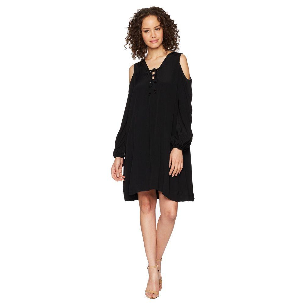 ヘイルボブ Hale Bob レディース ワンピース・ドレス ワンピース【Lady Luxe Crepe Lace-Up Cold Shoulder Dress】Black