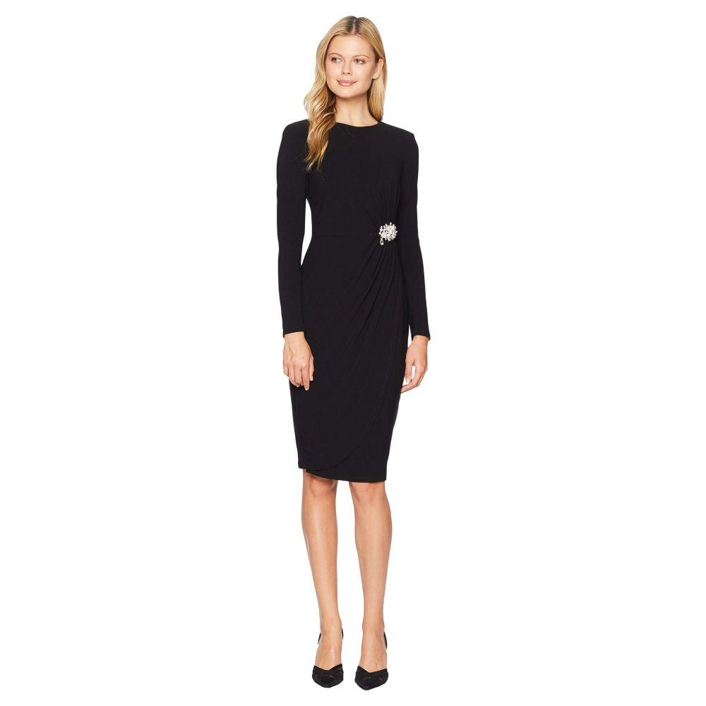 マギーロンドン Maggy London レディース ワンピース・ドレス パーティードレス【Crystal Crepe Cocktail Sheath Dress with Side Broach】Black