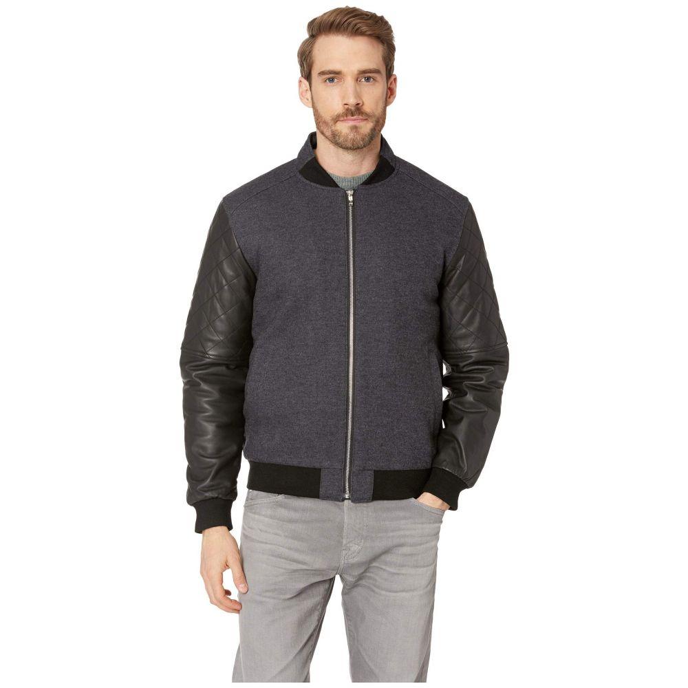ブガッチ BUGATCHI メンズ アウター レザージャケット【Wool Bomber with Leather Long Sleeves】Black