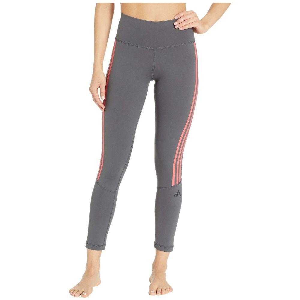 アディダス adidas レディース インナー・下着 スパッツ・レギンス【Believe This High-Rise 3-Stripes 7/8 Tights】Grey Six/Shock Red