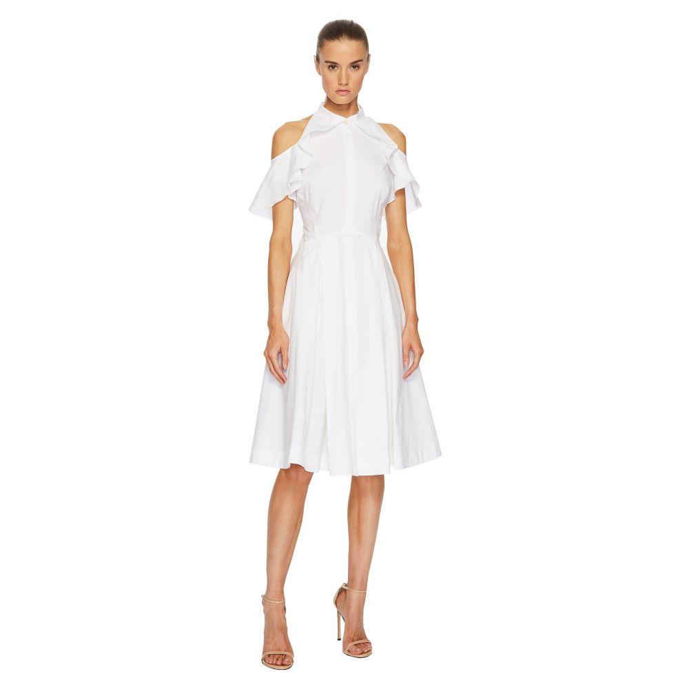 ザック ポーゼン Zac Posen レディース ワンピース・ドレス ワンピース【Cotton Poplin Cold Shoulder Dress】White