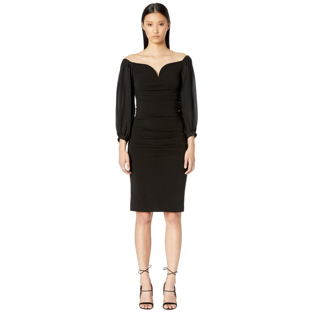 ニコルミラー Nicole Miller レディース ワンピース・ドレス ワンピース【Structured Heavy Jersey Plunge Dress】Black