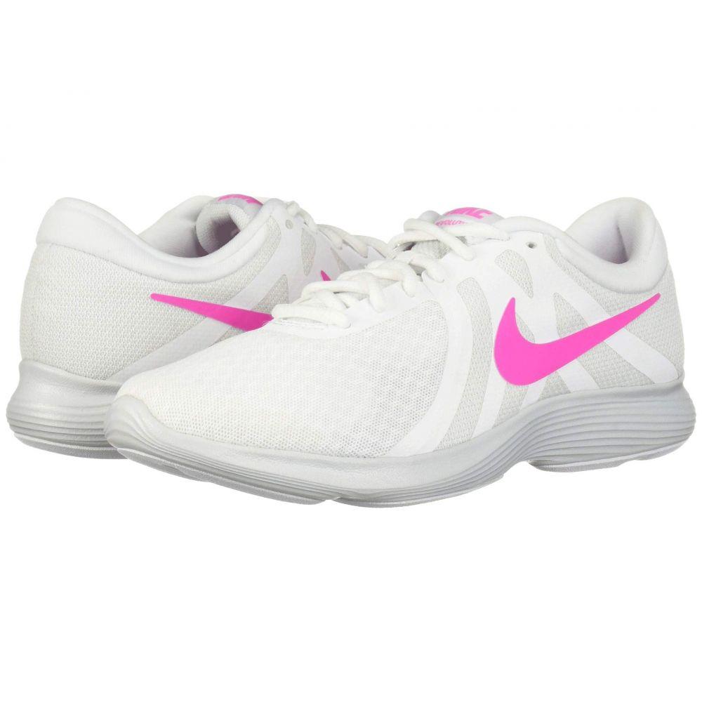 ナイキ Nike レディース ランニング・ウォーキング シューズ・靴【Revolution 4】White/Laser Fuchsia/Pure Platinum