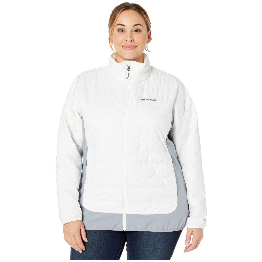コロンビア Columbia レディース ダウン・中綿ジャケット 大きいサイズ アウター【Plus Size Seneca Basin Hybrid Jacket】White/Tradewinds Grey