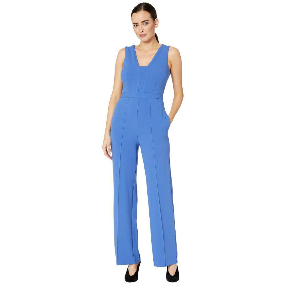 ドナ モルガン Donna Morgan レディース オールインワン ジャンプスーツ ワイドパンツ ノースリーブ ワンピース・ドレス【Sleeveless Wide Leg Crepe Jumpsuit】Acrylic Blue