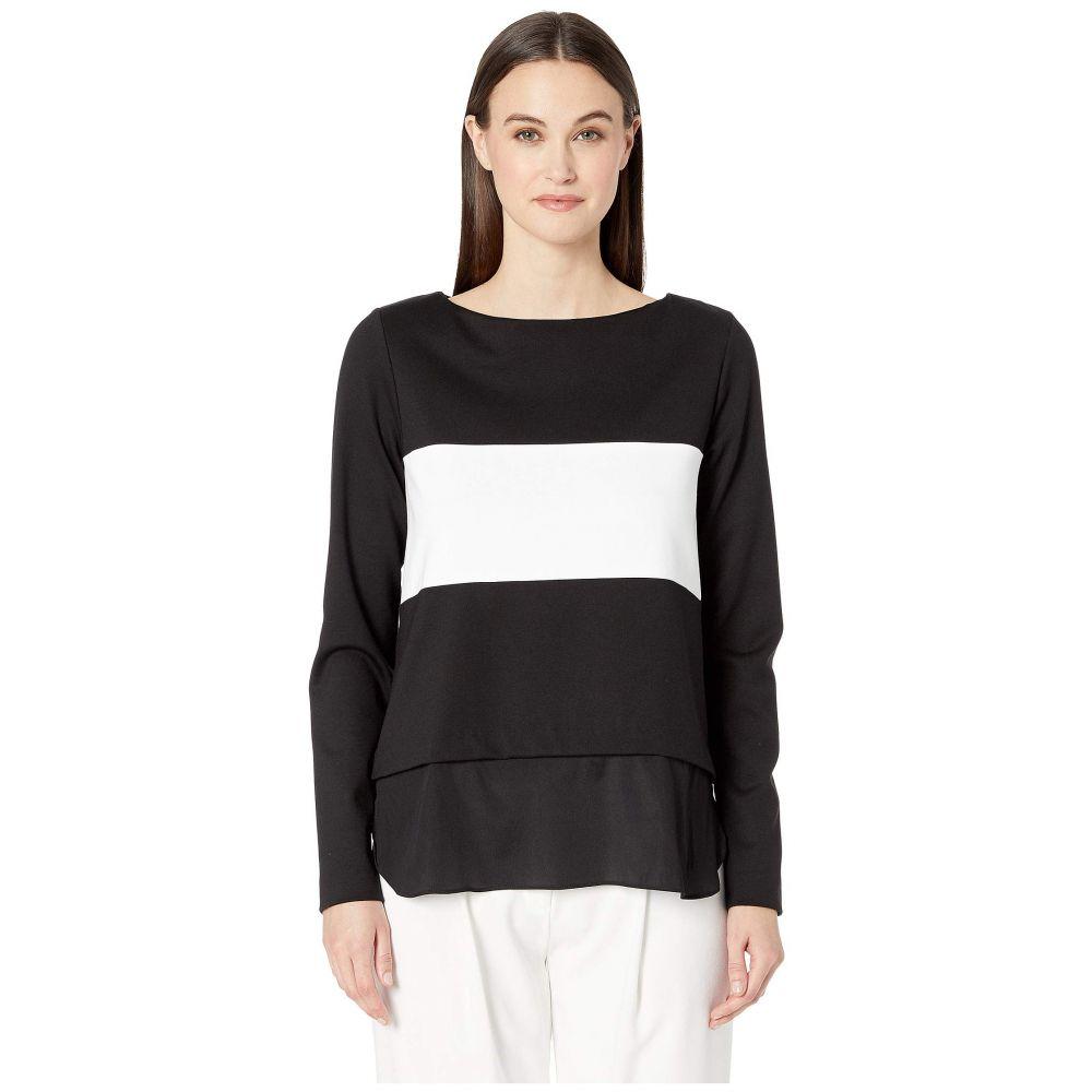 ニコルミラー Nicole Miller レディース ニット・セーター トップス【Ponte Boat Neck Sweater】Black/White