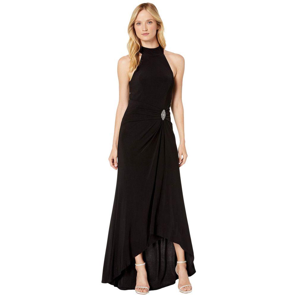 マリナ MARINA レディース パーティードレス ワンピース・ドレス【Halter Neck Matte Jersey Gown w/ Draped Skirt w/ Broach Detail】Black