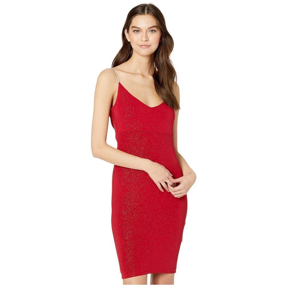 ベベ Bebe レディース ボディコンドレス ラインストーン ワンピース・ドレス【Cowl Back Bodycon Dress Rhinestone Strap】Red