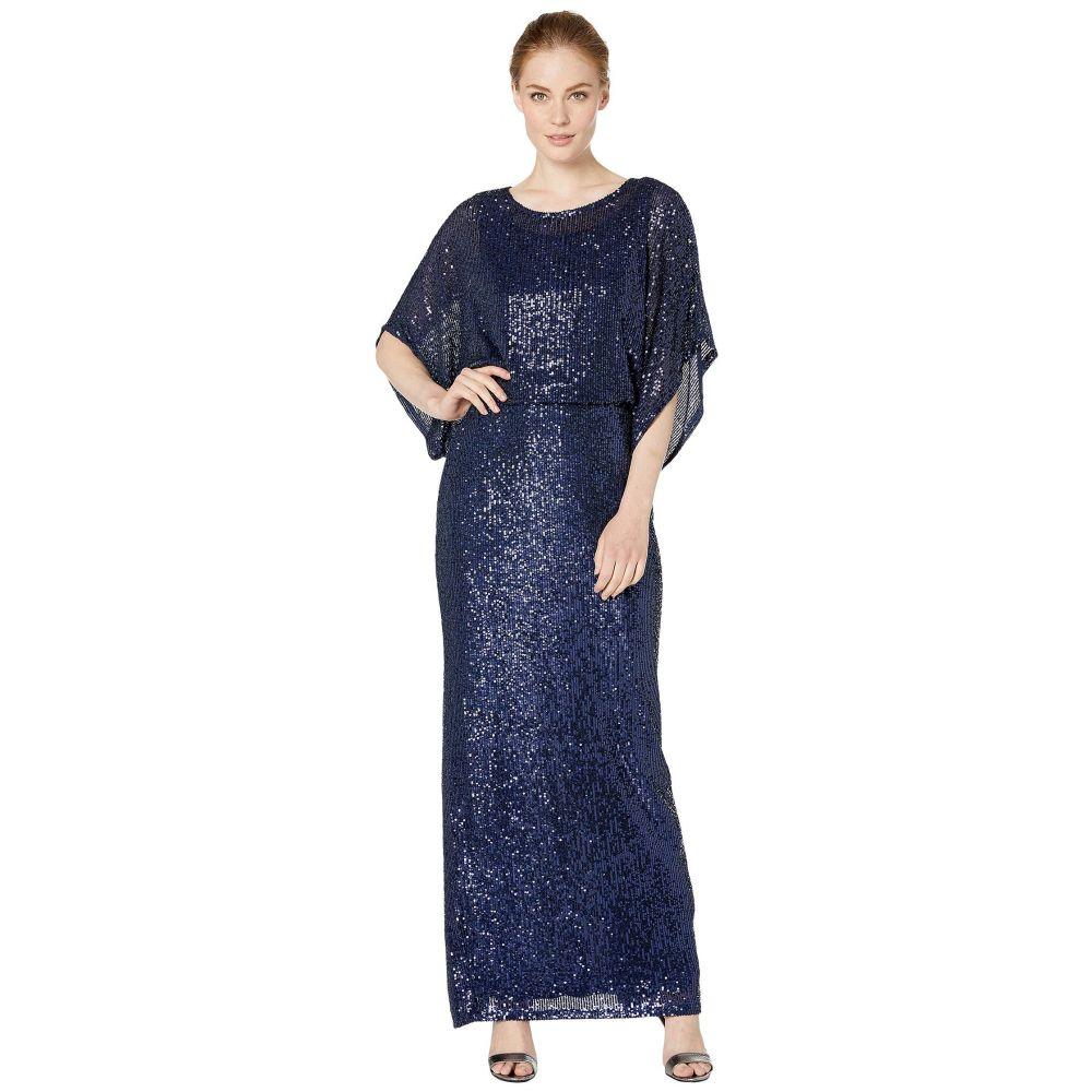 マリナ MARINA レディース パーティードレス ワンピース・ドレス【Kimono Sleeve Stretch Sequin Blouson Gown】Navy