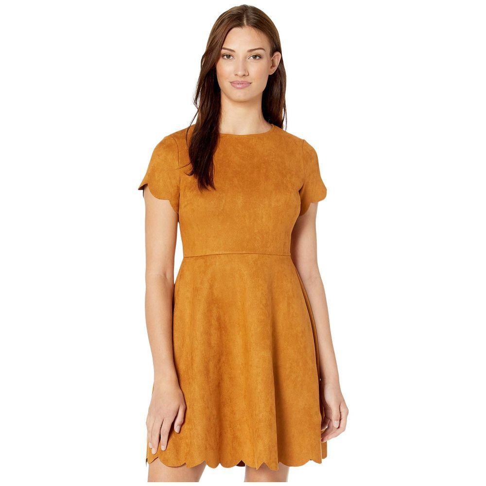 パッパガッロ Pappagallo レディース ワンピース ワンピース・ドレス【Suede Scallop Fit & Flare Dress】Mustard