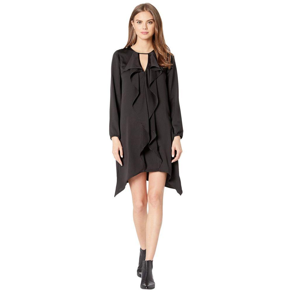 ビーシービージーマックスアズリア BCBGMAXAZRIA レディース ワンピース ワンピース・ドレス【Ruffle Front Long Sleeve Woven Dress】Black