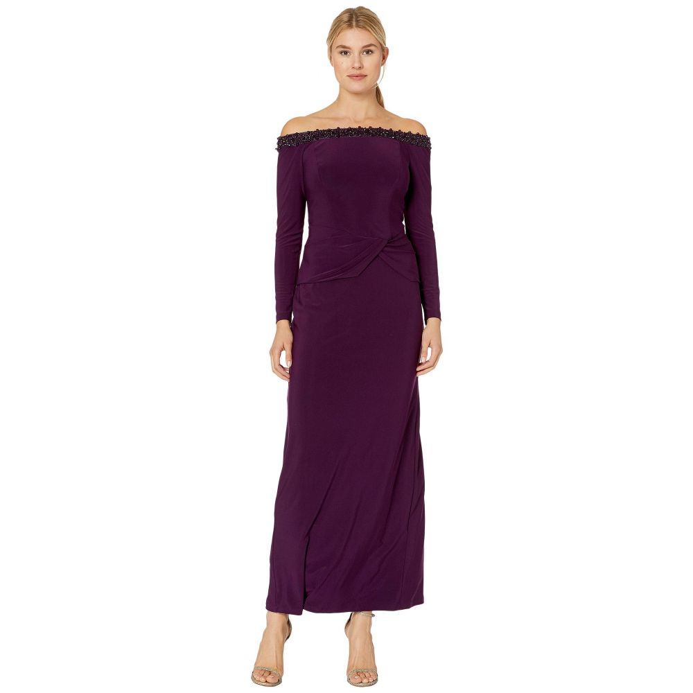 マリナ MARINA レディース パーティードレス ワンピース・ドレス【Matte Jersey Long Sleeve Off-the-Shoulder Gown with Bead Trim】Eggplant