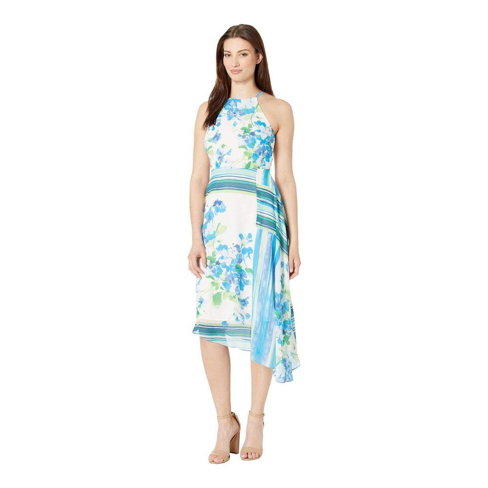 ドナ モルガン Donna Morgan レディース ワンピース ノースリーブ ワンピース・ドレス【Sleeveless Halter Asymmetrical Chiffon Dress】White/Blue Cadet Multi