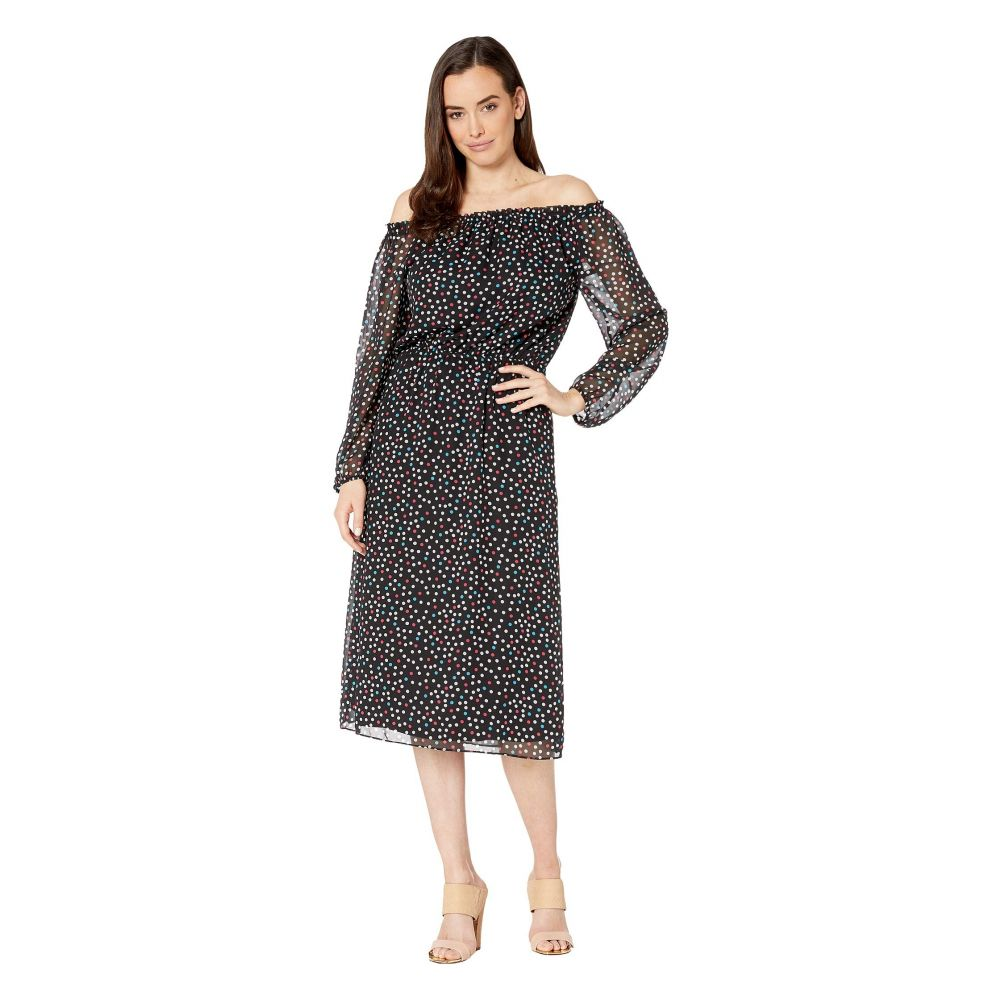ナインウェスト Nine West レディース ワンピース ミドル丈 ワンピース・ドレス【Sprinkle Dot Midi Long Sleeve Peasant Dress】Black/Honolulu Multi