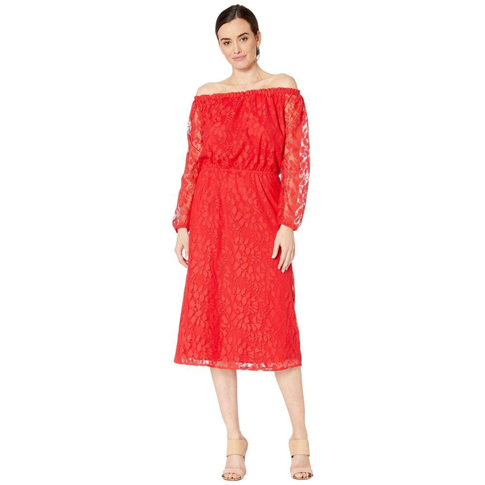 ナインウェスト Nine West レディース ワンピース ミドル丈 ワンピース・ドレス【Vineyard Lace Midi Long Sleeve Peasant Dress】Apple