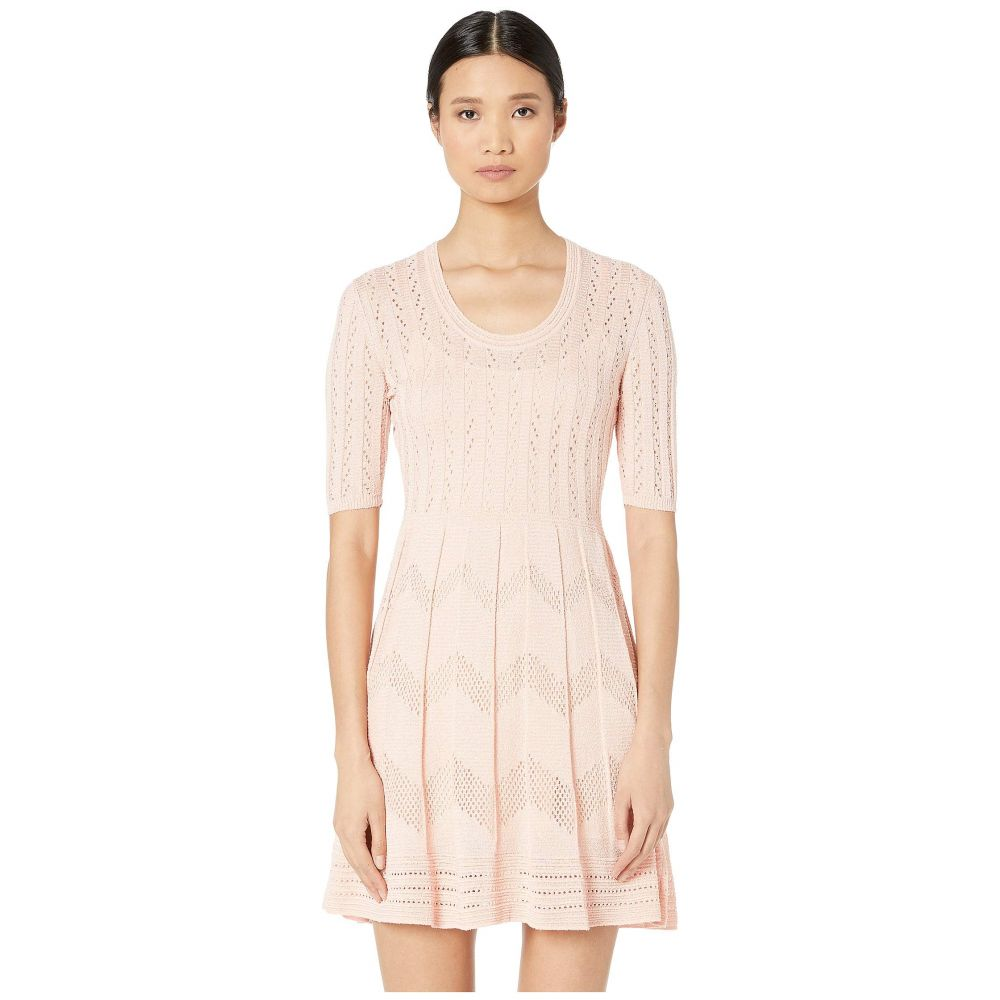 ミッソーニ M Missoni レディース ワンピース ワンピース・ドレス【Short Sleeve U-Neck Short Dress in Zigzag Stitch】Soft Pink
