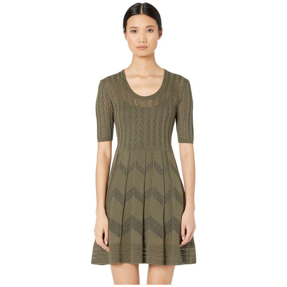 ミッソーニ M Missoni レディース ワンピース ワンピース・ドレス【Short Sleeve U-Neck Short Dress in Zigzag Stitch】Dark Beige