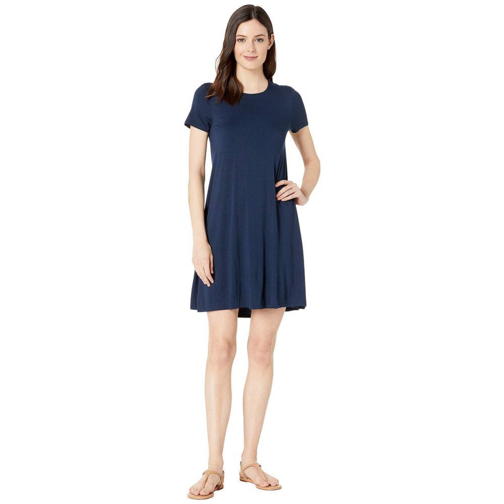 スリードッツ Three Dots レディース ワンピース ワンピース・ドレス【Refined Jersey Short Sleeve Crew Neck Float Dress】Night Iris