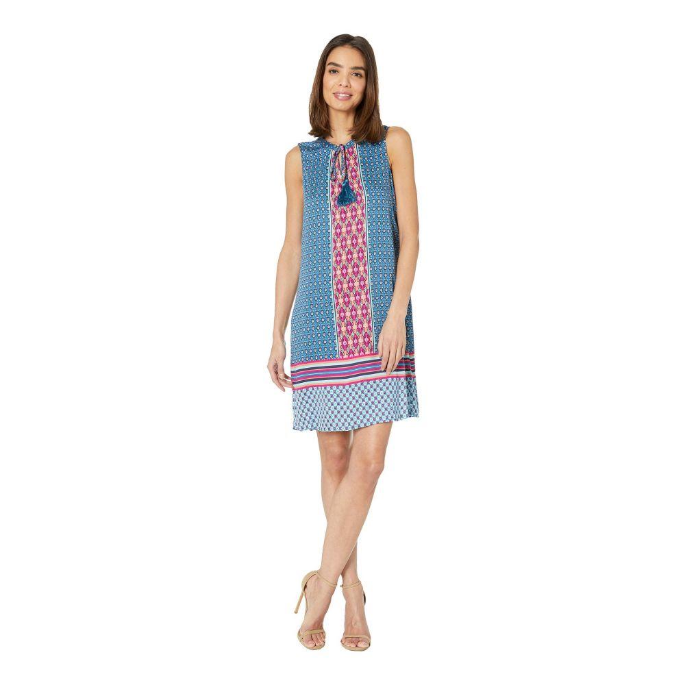 トリバル Tribal レディース ワンピース Vネック ノースリーブ ワンピース・ドレス【Printed Stretch Challis Sleeveless V-Neck Dress with Tassel】Bali Blue