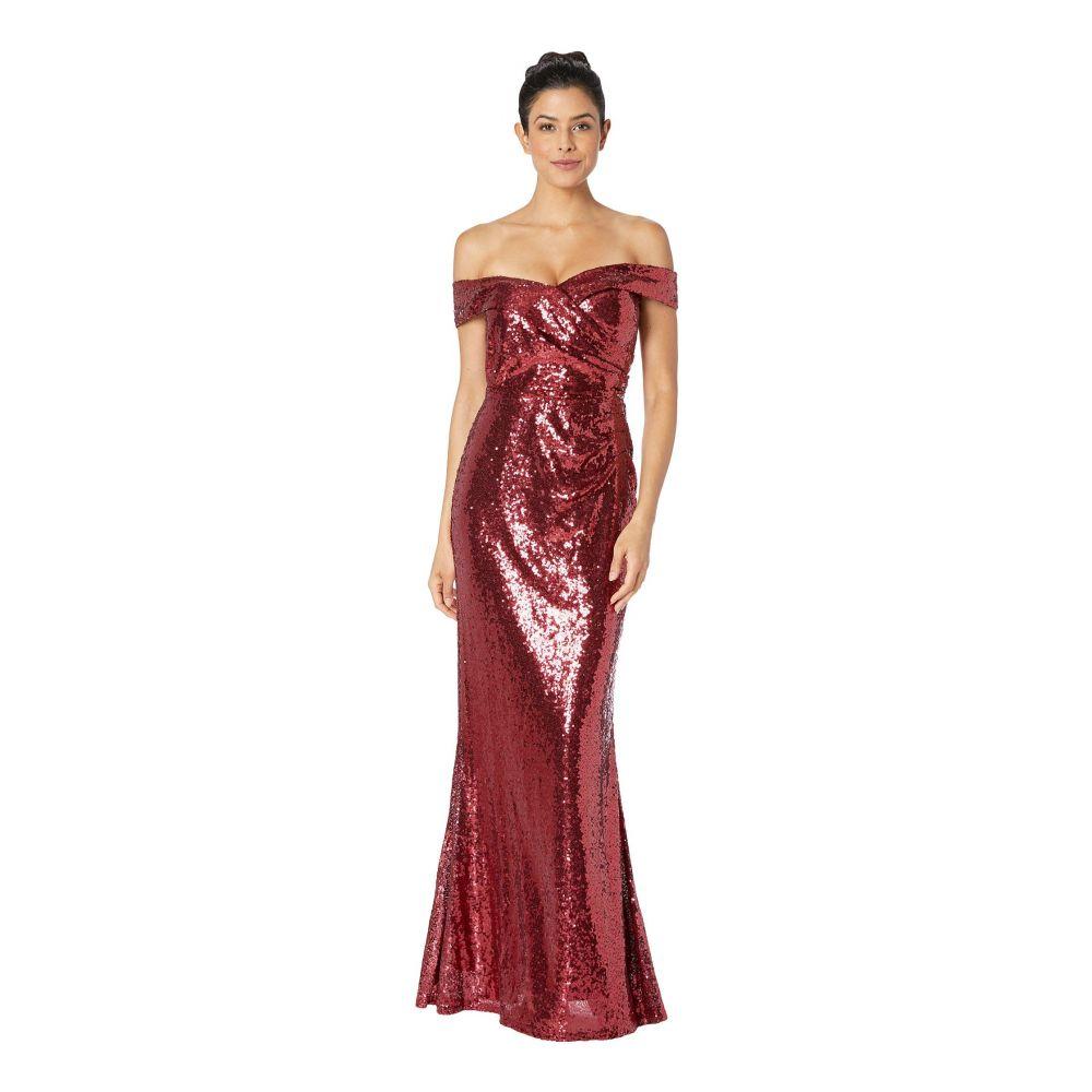 マリナ MARINA レディース パーティードレス ワンピース・ドレス【Sequined Off the Shoulder Gown】Ruby