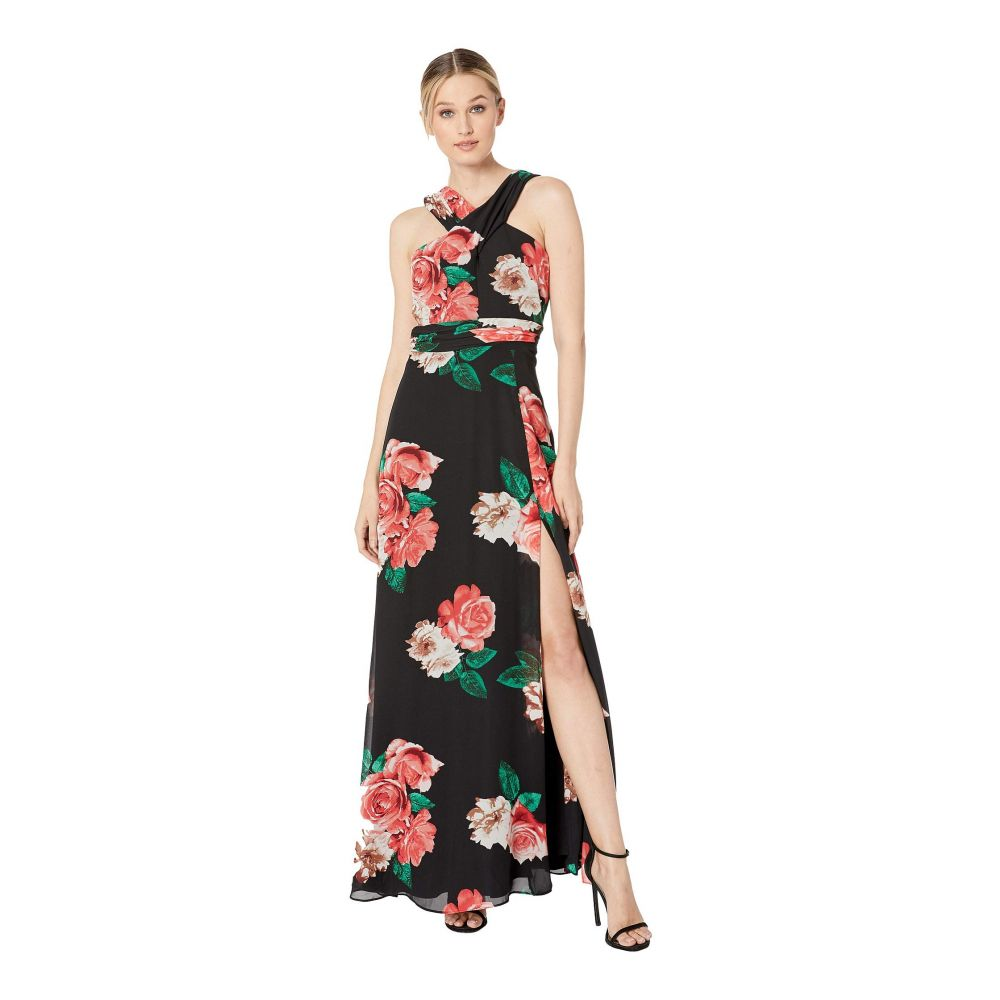 ランドリー Laundry by Shelli Segal レディース パーティードレス カクテルドレス ワンピース・ドレス【Cross Front Pleated Metallic Cocktail Dress】Black Multi