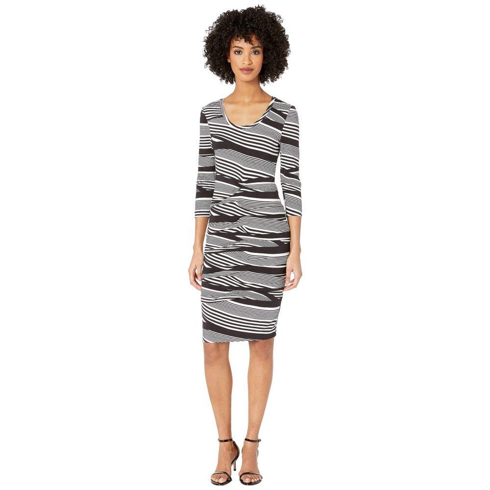 ニコルミラー Nicole Miller レディース ワンピース ワンピース・ドレス【Wavy Stripe Dakota Tidal Pleat Dress】Black/White