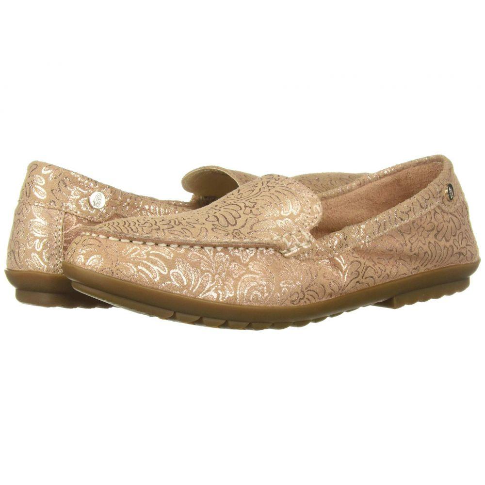 ハッシュパピー Hush Puppies レディース ローファー・オックスフォード シューズ・靴【Aidi Mocc Slip-On】Pale Peach Metallic Print Leather
