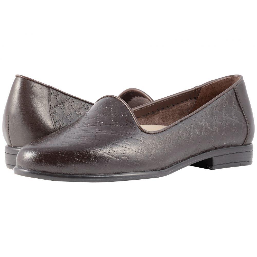 トロッターズ Trotters レディース ローファー・オックスフォード シューズ・靴【Liz】Dark Brown Quilted Embossed