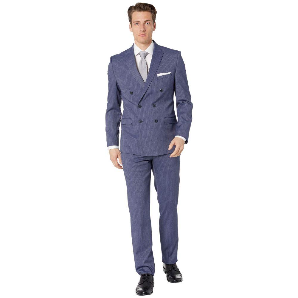 ケネス コール Kenneth Cole Reaction メンズ スーツ・ジャケット アウター【Striped Double-Breasted Suit】Denim Blue