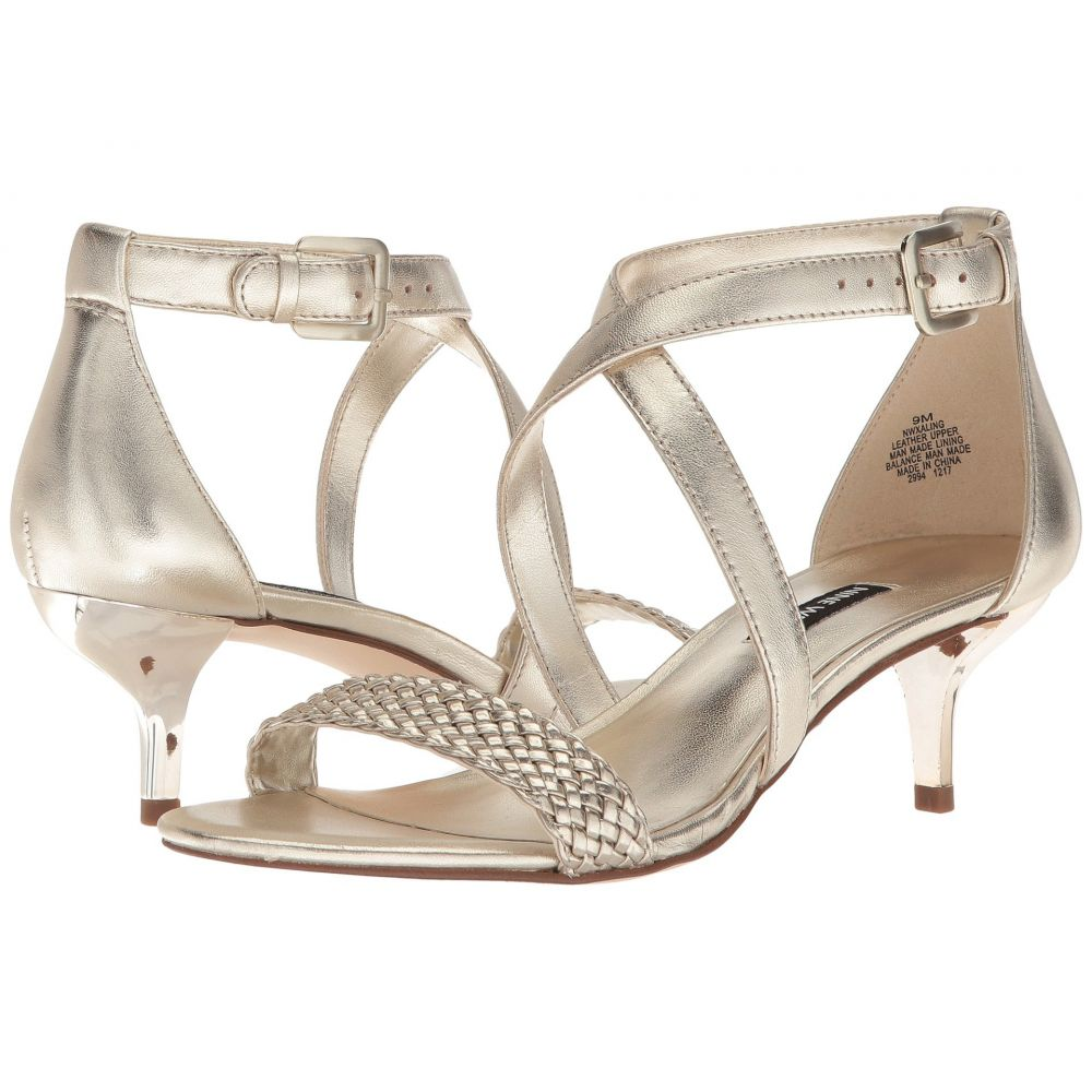 ナインウェスト Nine West レディース サンダル・ミュール シューズ・靴【Xaling Strappy Heel Sandals】Platino/Platino Soft Metallic Nappa/Engineered Woven