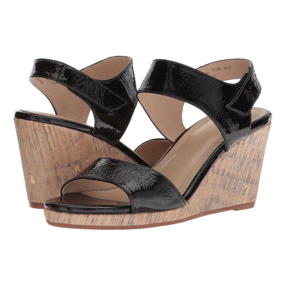 ジョンストン&マーフィー Johnston & Murphy レディース サンダル・ミュール シューズ・靴【Glenna】Black Crinkle Patent Leather