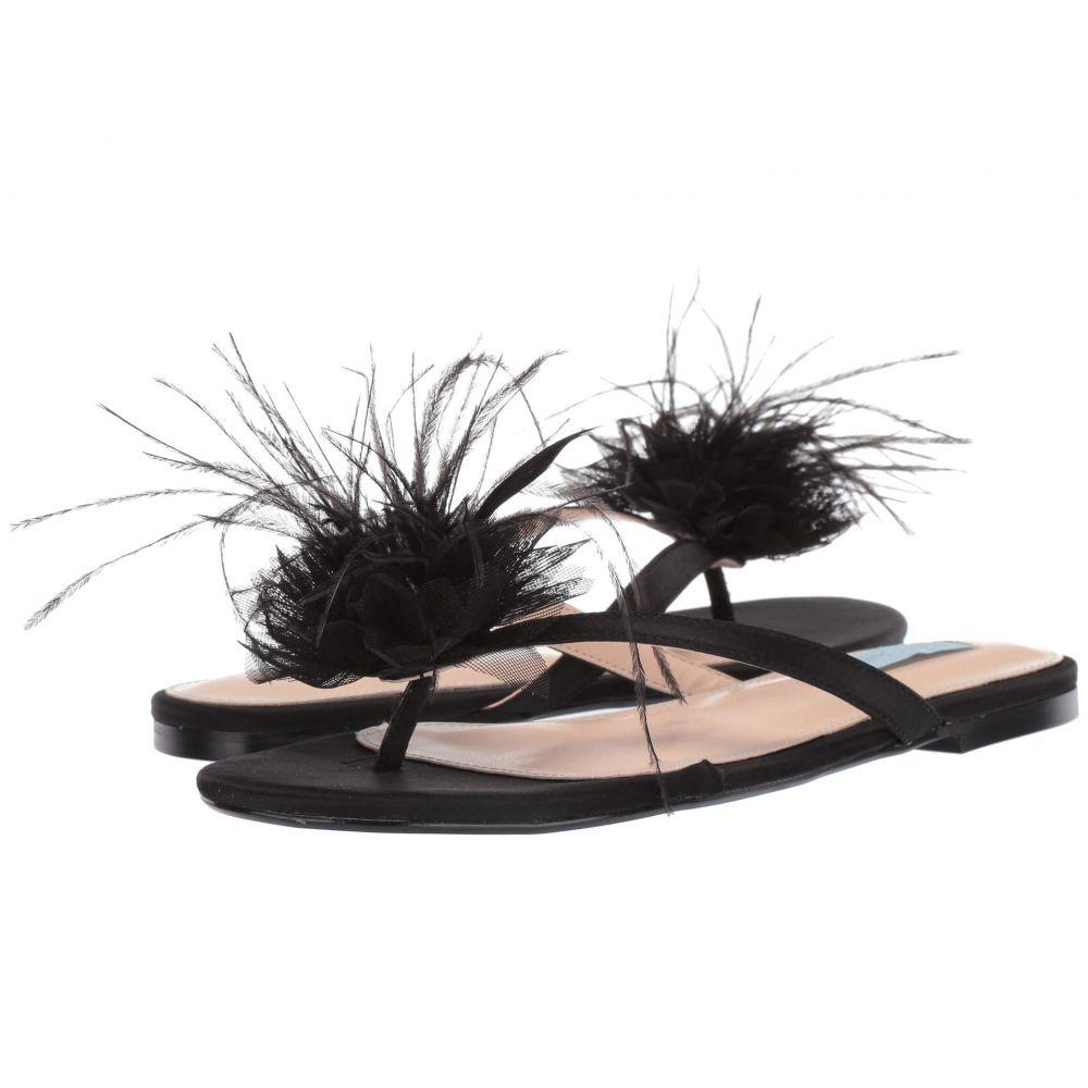 ベッツィ ジョンソン Blue by Betsey Johnson レディース ビーチサンダル フラット シューズ・靴【Tulia Flat Sandal】Black Satin