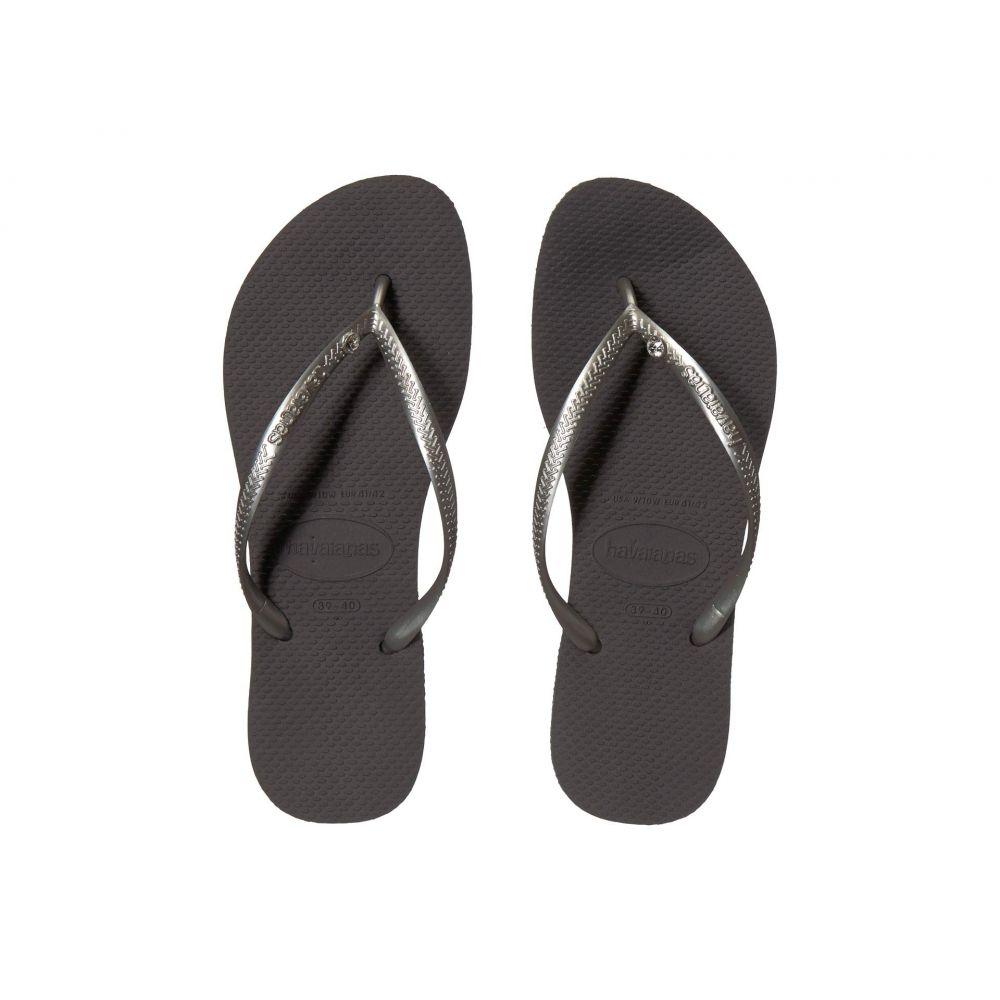 ハワイアナス Havaianas レディース ビーチサンダル シューズ・靴【Slim Crystal Glamour SW Flip Flops】New Graphite/Silver Metallic