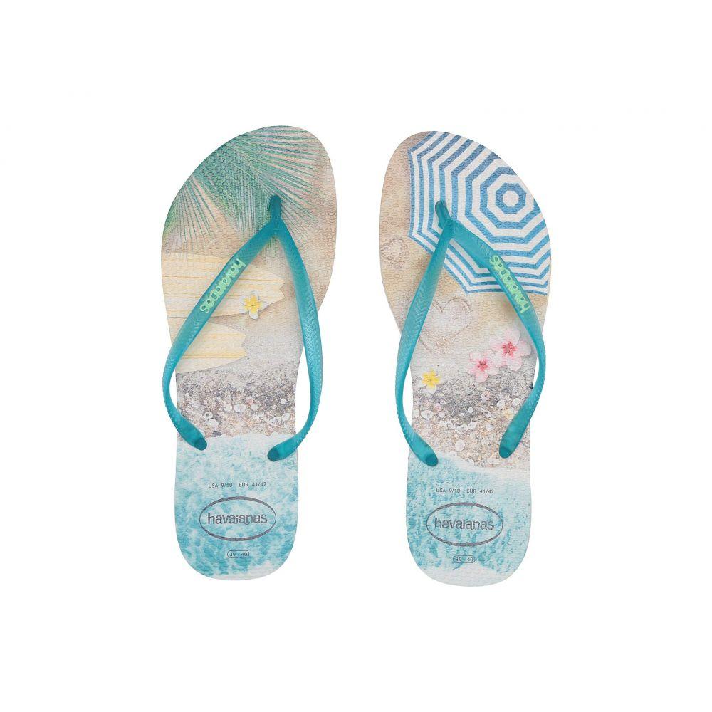 ハワイアナス Havaianas レディース ビーチサンダル シューズ・靴【Slim Paisage Flip Flops】Beige/Turquoise